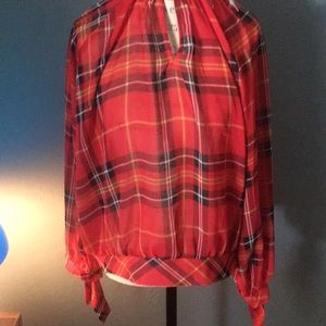 Sheer plaid sexy blouse top NWT summer must have
